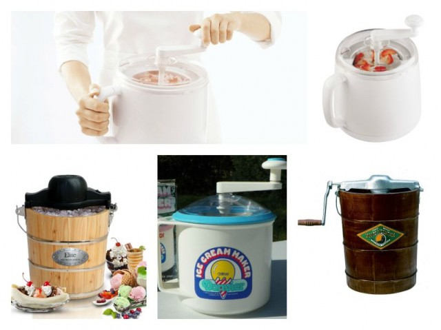 Top: Donvier Manual Ice Cream Maker. Bottom: MaxiMatic EIM-502 Elite Gourmet 4-Quart Old-Fashioned Pine-Bucket Electric/Manual Ice-Cream Maker, Donvier Pint Size Ice Cream Maker, White Mountain F64306-X 6-Quart Hand-Crank Ice Cream Freezer.