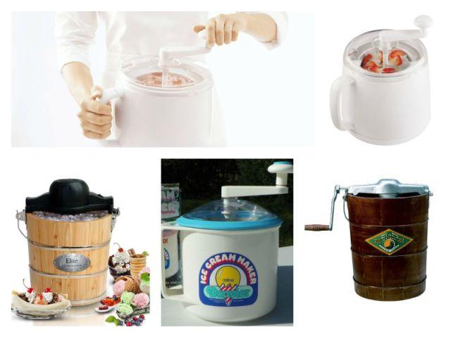Top: Donvier Manual Ice Cream Maker. Bottom: MaxiMatic EIM-502 Elite Gourmet 4-Quart Old-Fashioned Pine-Bucket Electric/Manual Ice-Cream Maker, Donvier Pint Size Ice Cream Maker, White Mountain F64306-X 6-Quart Hand-Crank Ice Cream Freezer.
