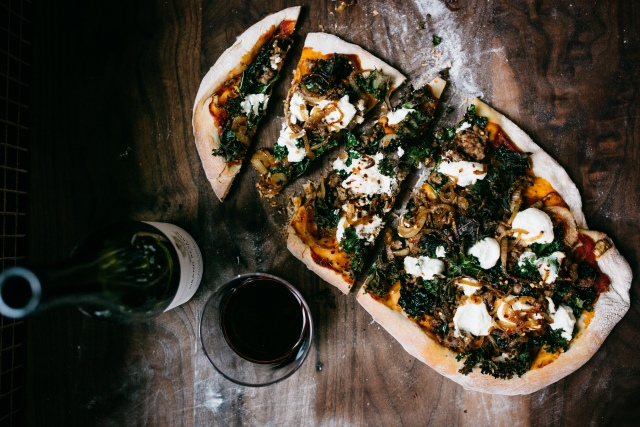 Kale, Ricotta and Caramelized Onion Pizza