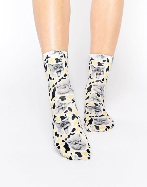 %Monki Crazy Cat Socks
