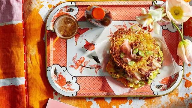 Prawn and Pork Pancake With Caramelized Onions and Crispy Noodles (Okonomiyaki)