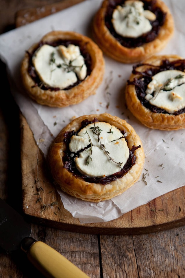 Red Wine Caramelized Onions and Goats Cheese Tartlets