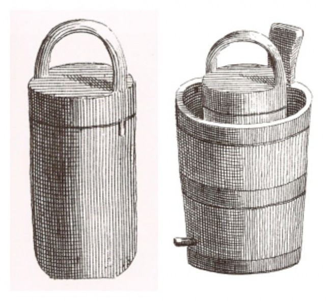 To operate this sorbetière, users placed the container in a tub of ice and salt and turned it round and round by hand. Then they would open the lid, stir, scrape the sides, close the lid, and spin the container again. Via Historic Cookery.