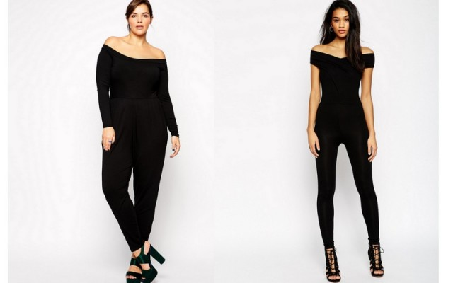 ASOS Curve Exclusive Bardot Jumpsuit on sale for $33.00, ASOS Bodyfit Jumpsuit With Wrap Bardot $44.79