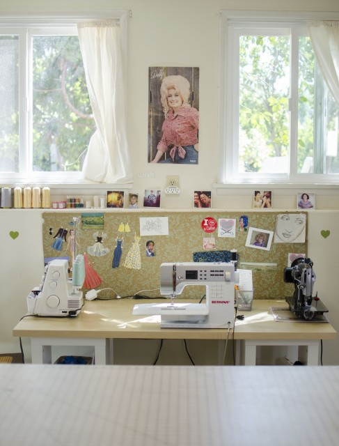 This is the sewing machine workspace in my craft room. One of the reasons I wanted to buy the house we live in is because it has sizeable detached basement which I have devoted to all things craftastic. Photo by Claire J Savage