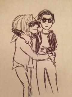 Artist's rendering of Alicia and Kristen reveling in the spotlight