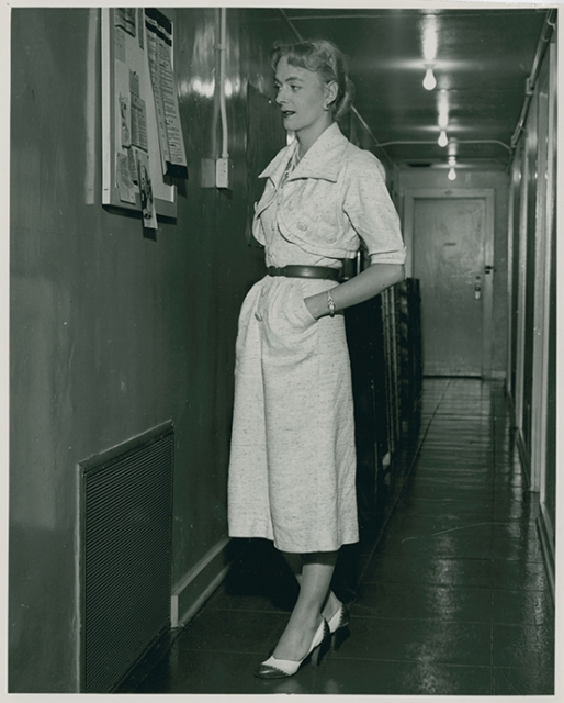 Christine Jorgensen during a visit to the Institute for Sex Research at Indiana University in Bloomington, IN, 1953. Photo by William Dellenback. Courtesy of Kinsey Institute, Indiana University.