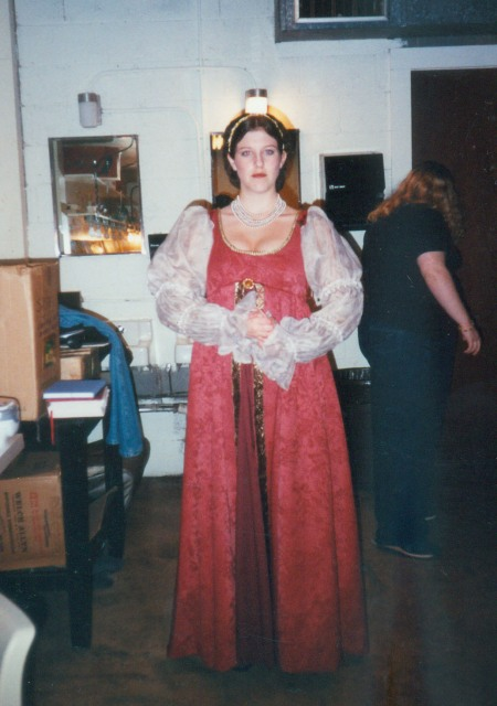 This is the actor who played Lady Capulet in my college's production of Romeo and Juliet wearing the first garment I ever sewed. She was wonderful onstage, and so was that gown.