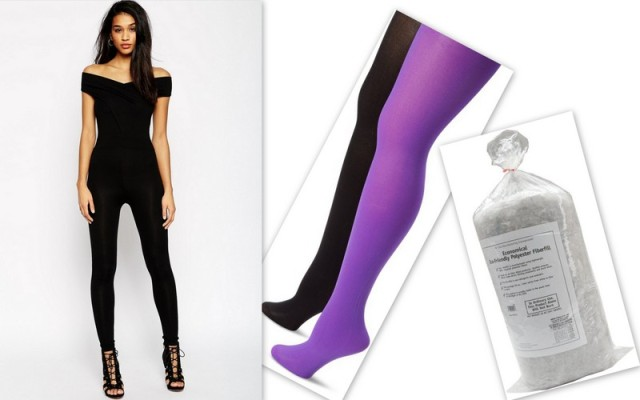 MUSIC LEGS Opaque Solid Tights in Black and Purple $9.00 per pack of 2, Eco-Friendly Recycled Fiberfill $10.87.