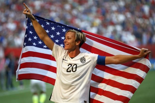 Jul 5, 2015; Vancouver, British Columbia, CAN; United States forward Abby Wambach (20) celebrates after defeating Japan in the final of the FIFA 2015 Women's World Cup at BC Place Stadium. United States won 5-2. Mandatory Credit: Michael Chow-USA TODAY Sports  ORG XMIT: USATSI-230322 ORIG FILE ID:  20150705_ajw_mc1_237.jpg
