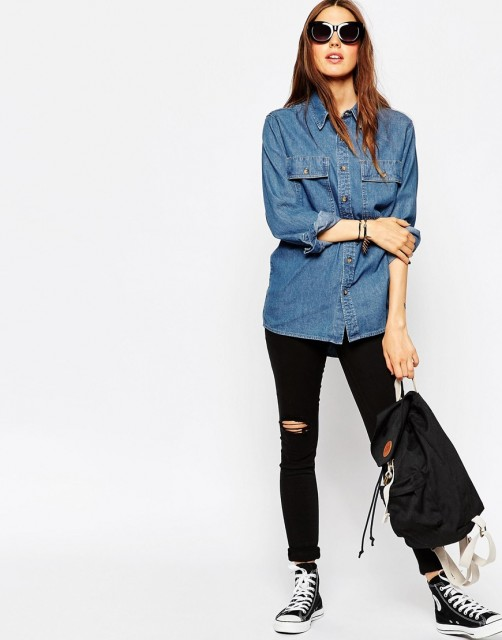%ASOS Boyfriend Denim Shirt