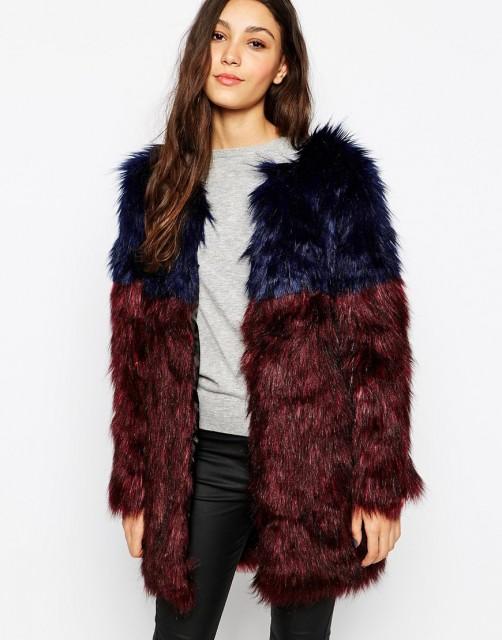 %Glamourous Faux Fur Colorblocked Coat
