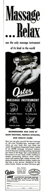 Oster Massage Instrument, LIFE, 20 November 1950.