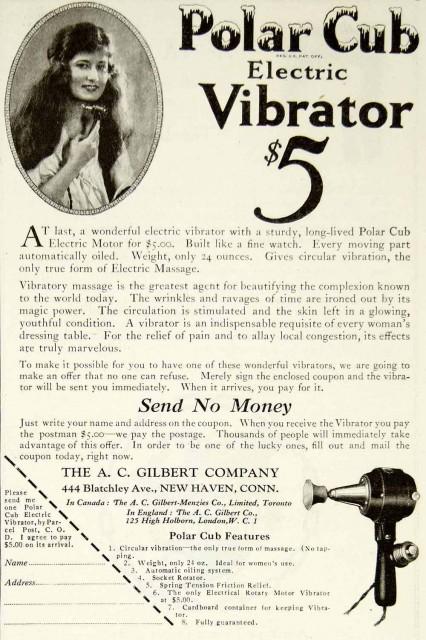 Polar Club Electric Vibrator, 1920, no original source.