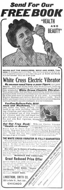 White Cross Electric Vibrator, Home Needlework Magazine, February 1908.