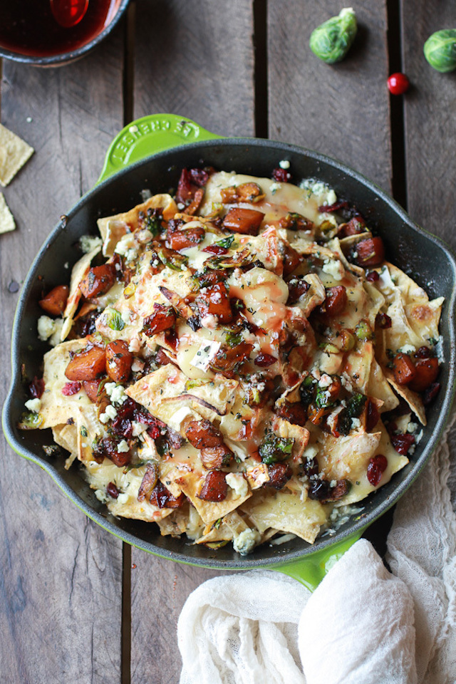 Cranberry, Butternut And Brussels Sprout Brie Skillet Nachos