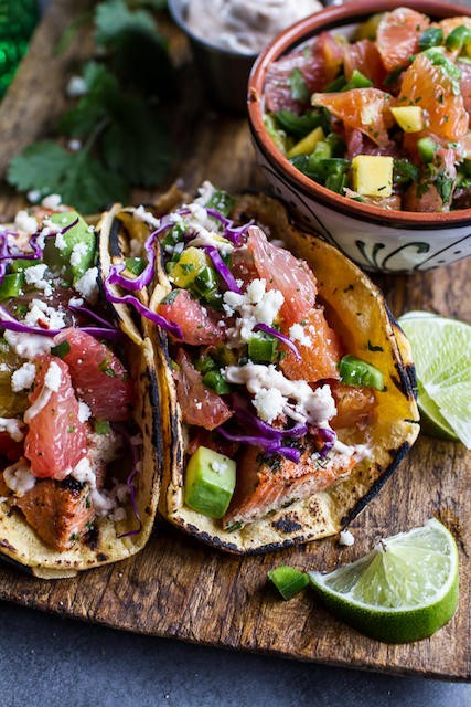 12. Cuban Fish Tacos with Citrus Mango Slaw and Chipotle Lime Crema