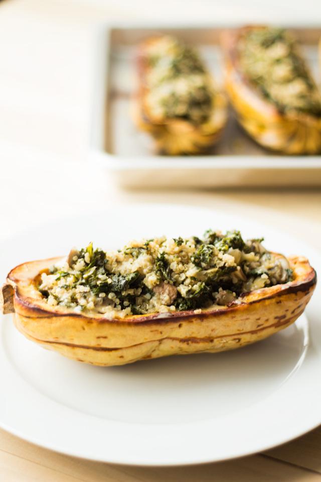 Kale Quinoa Stuffed Delicata Squash