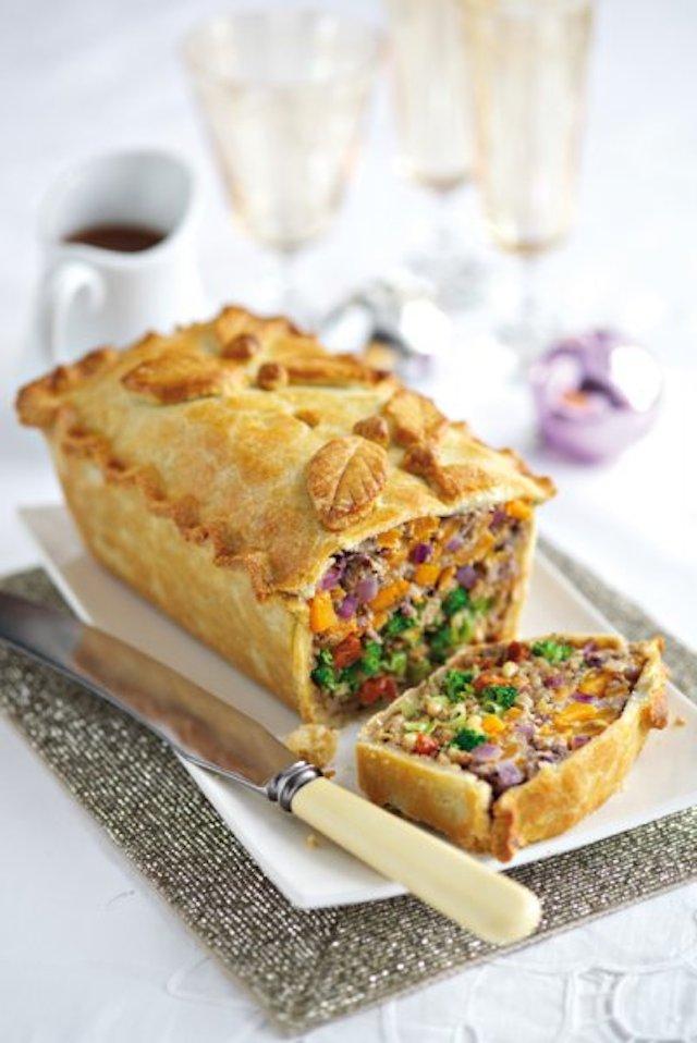 Leek, squash and broccoli pie