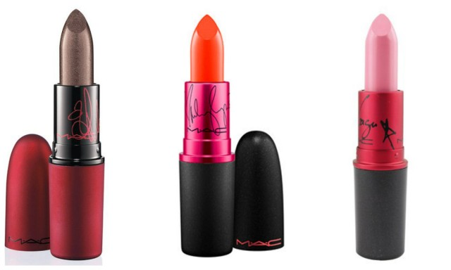 Viva Glam lipstick from (left to right) Rihanna Collection, Miley Collection, Lady Gaga Collection.
