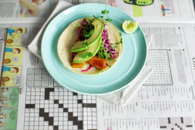 11. Orange and Ancho Tempeh Tacos wth Ruby Grapefruit Slaw