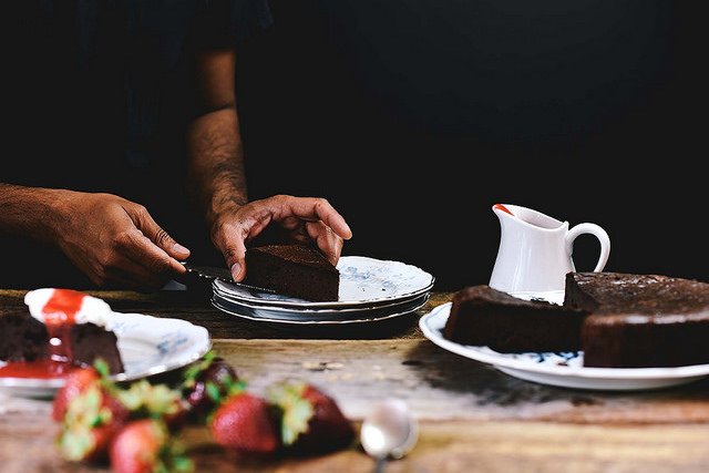 flourless-chocolate-cake-with-orange-blossom-water-and-strawberry-champagne-sauce