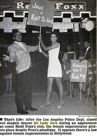 Sir Lady Java protesting at Redd Foxx's club in Jet Magazine.