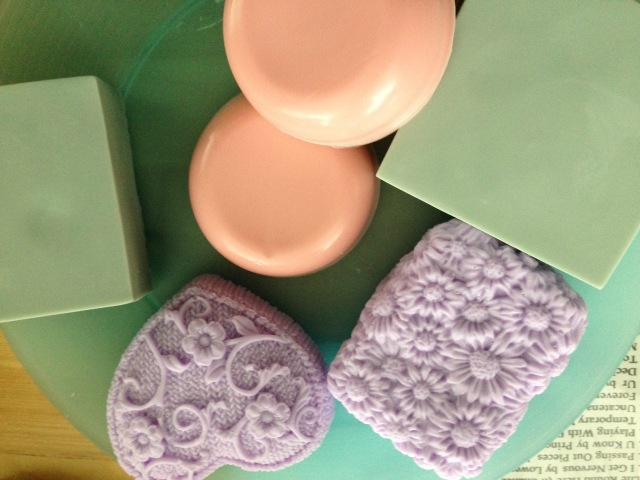 I used natural dyes to color these soaps and some beautiful silicone flowered molds that I found on amazon.