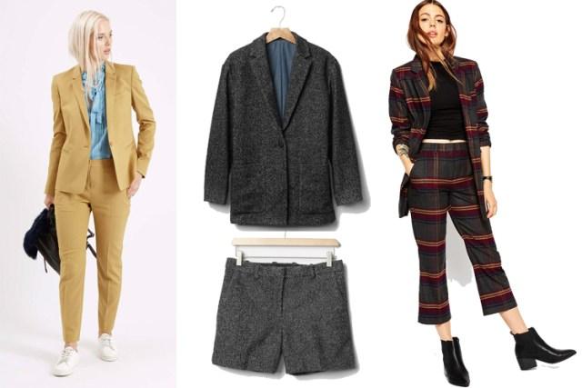 Premium Fitted Suit Blazer,Premiu Tailored Suit Trousers,Herringbone Blazer,Herringbone Shorts, Premium Boyfriend Blazer, Slim Midi Pant