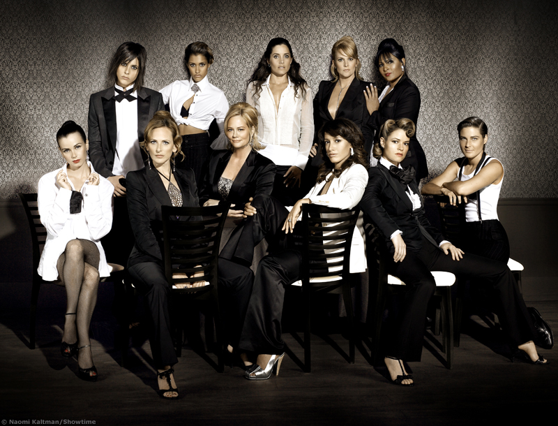 image: the cast of the l word in black and white outfits, looking sophisticated and sexy. bottom row: jenny, jodi, phyllis, bette, alice (in a suite looking very hot!!!), max. second row: shane, papi, helena, tina, kit.