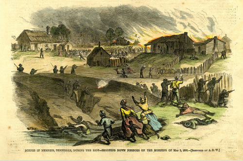 A depiction of the Memphis Riots.