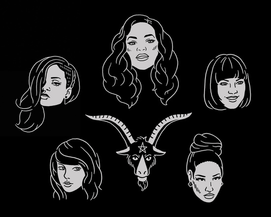 Who wouldn't love to have this Rihanna, Beyonce, Carly Rae, Nicki, T-Swift and Satan illustration on a shirt or pillow?