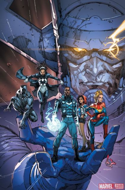 America Chavez on the cover of Ultimates #1, cover by Kenneth Rocafort and Edgar Delgado.