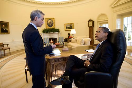 Rahm Emanuel, left, visiting with President Obama