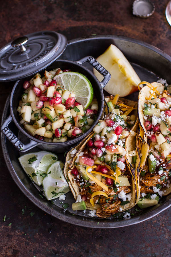 Spicy Cider Beer Braised Chicken Enchilada Tacos with Sweet Chili Apple-Pomegranate Salsa