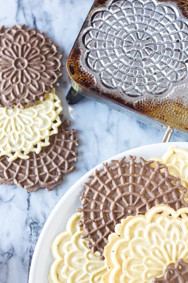Vanilla and Chocolate Pizzelles