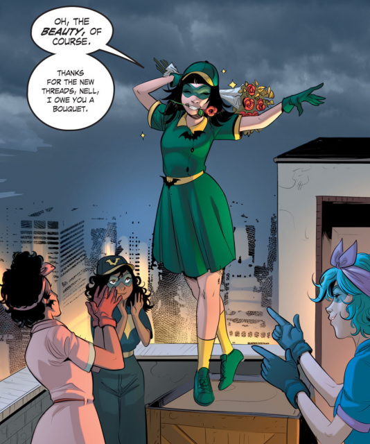 Alysia Yeoh and the other Batgirls in DC Comics Bombshells #6 art by Mirka Andolfo, colors by Wendy Broome.