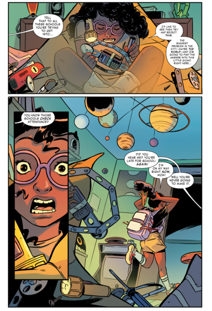 Look at how adorable Lunella is! Art by Natacha Bustos, colors by Tamra Bonvillain.