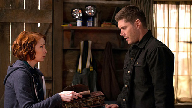 "Supernatural -- ""Book of the Damned"" -- Image SN1018B_0078 -- Pictured (L-R): Felicia Day as Charlie and Jensen Ackles as Dean -- Photo: Diyah Pera/The CW -- © 2015 The CW Network, LLC. All Rights Reserved."