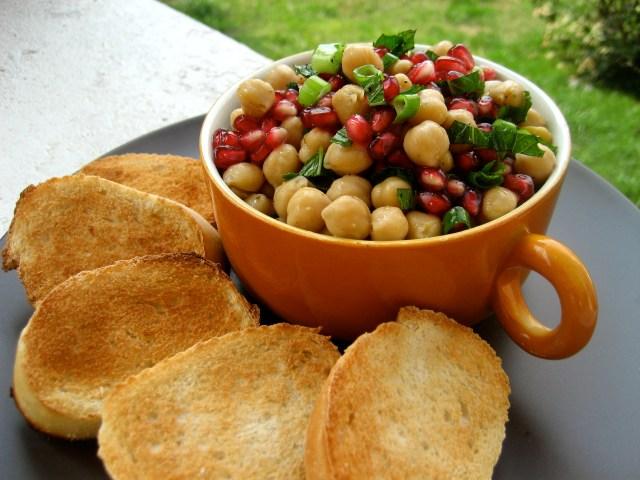 Chickpea, pomegranate and mint crostini