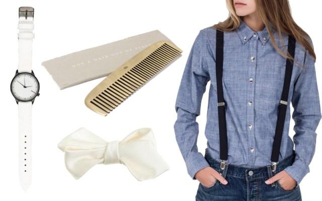 Reptile Menagerie Watch , Brass Comb, Italian Silk Satin Bow Tie, Civic Trust Black Suspenders