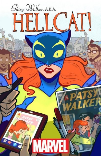 The cover for Pasty Walker, AKA Hellcat! #1 with Brittney Williams and Kate Leth right there to the right of Patsy's ear.