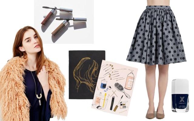 Peach Faux Fur Scarf, Anastasia Tinted Brow Gel , %Garance Dore Pocket Notebooks, Saturday Sojourn Skirt, Formula X Nail Polish in Majestic
