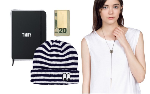 TMBY Notebook, Dough Holder Money Clip, Side Eye Beanie, Sharp Shooter Necklace