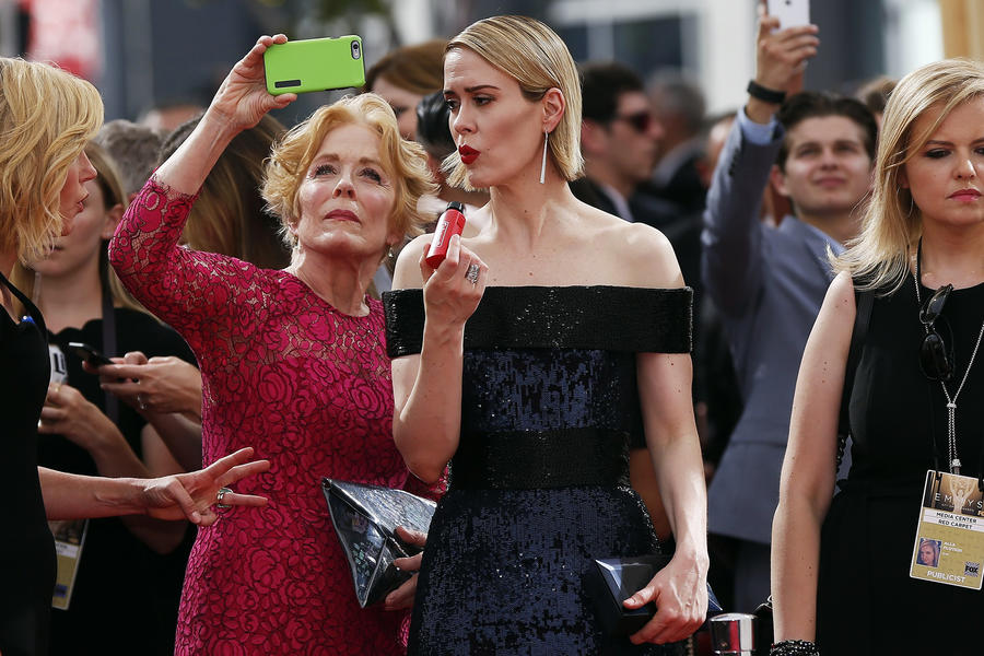 Holland Taylor and Sarah Paulson arrive at the 67th Primetime Emmy Awards in Los Angeles