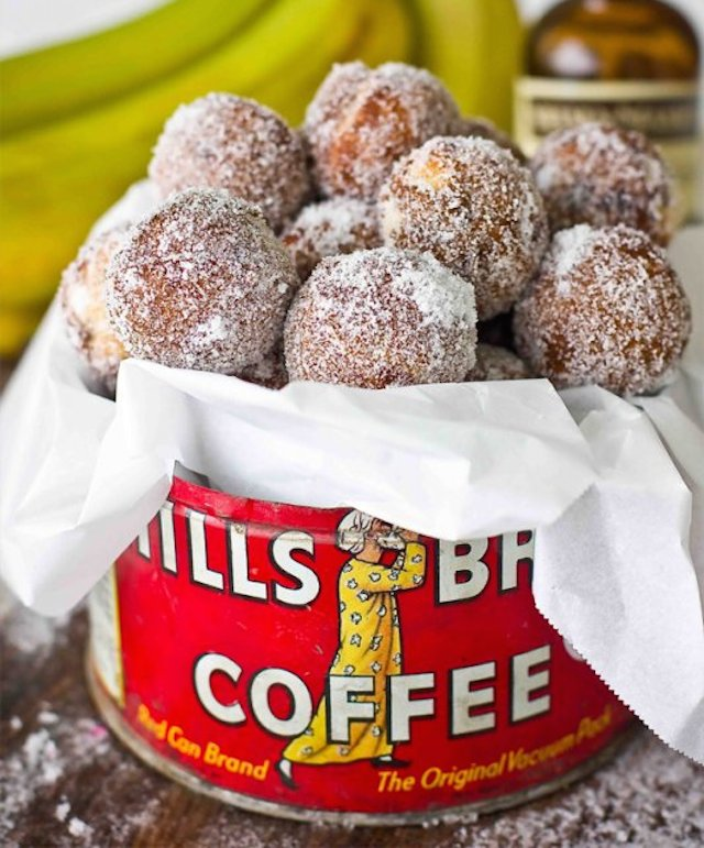 10 Minute Baked Banana Bread Donut Holes