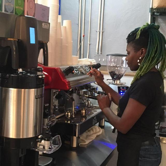 Johnson working in her coffeeshop.
