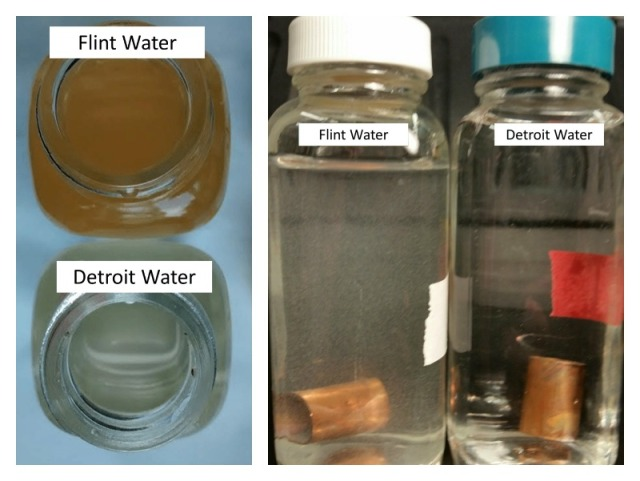 Left: Higher release of iron is evident in the Flint water glass reactor containing iron than that with Detroit water. Right: Samples of lead solder connected to copper pipe in Flint River water with orthophosphate (left) and Detroit water (right). The white suspended particles visible in the Flint River water are tiny lead particles while the Detroit water remained clear. Via Flint Water Story (left, right).