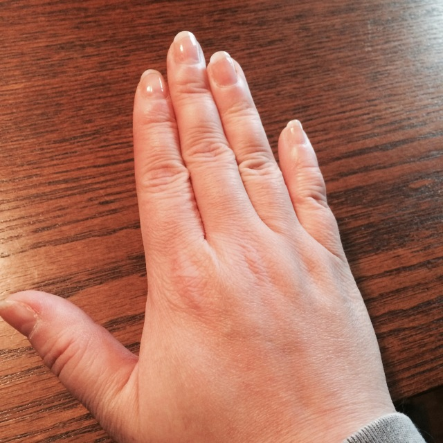 I know this is just a picture of my hand and my nails aren't even that long, but it's a huge deal. I haven't had any white tips to speak of for almost two decades!
