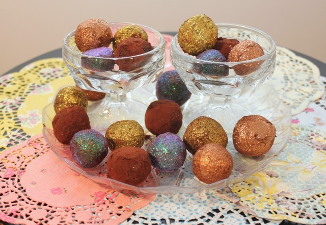 Completed sparkly truffles